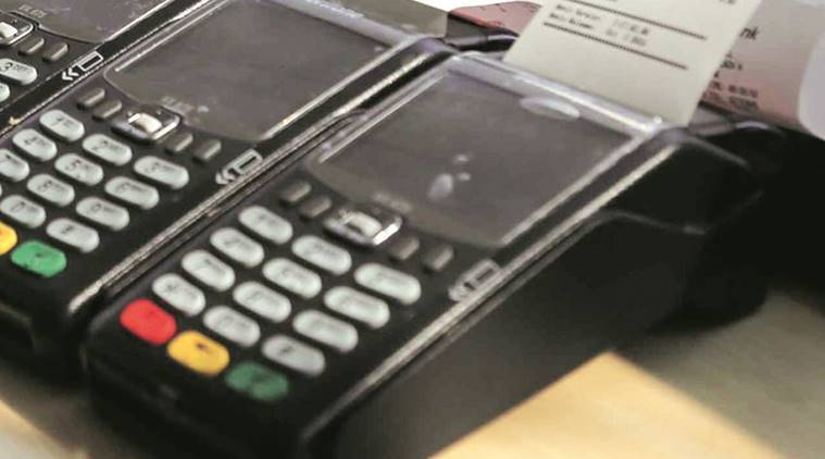 PoS machines, Point of Sales machines, PoS machines sale, Cashless, cashless payments, demonetisation, BIS labelling, electronics, IT, Government of india, indian express news