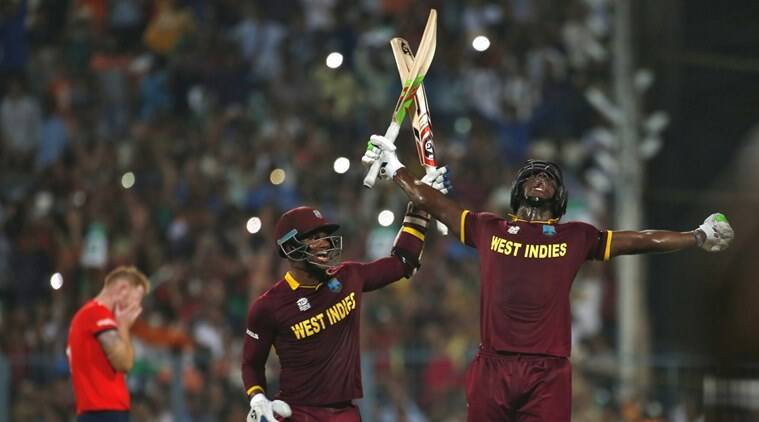 Carlos Brathwaite produced some big hitting right at the death to beat England. (Source: Reuters)
