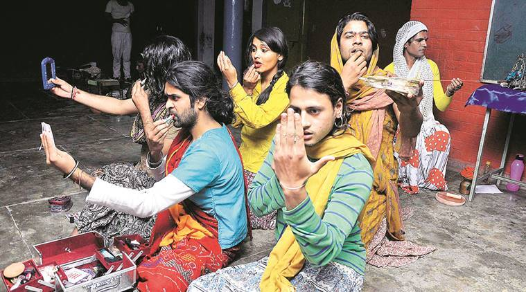 """Artistes of Alankar Theatre group during the rehearsal of their play """"Thiru Nangai"""" at Government Primary School in Sector 16, Chandigarh, on Friday.  Sahil Walia"""