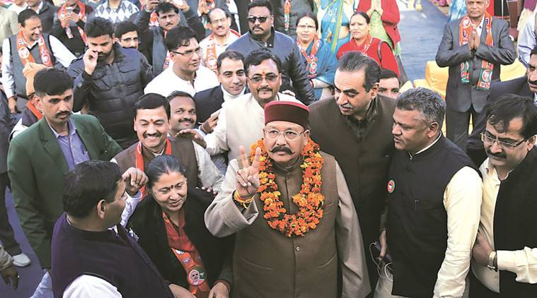 Former union minister Satpal Maharaj campaigns for BJP candidate Shakti Prakash Devshali from ward 20 during a rally in Sector 29, Chandigarh.  Jaipal Singh