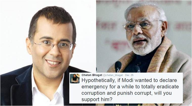 Chetan Bhagat asked people if they'd support Narendra Modi if he'll declare emergency