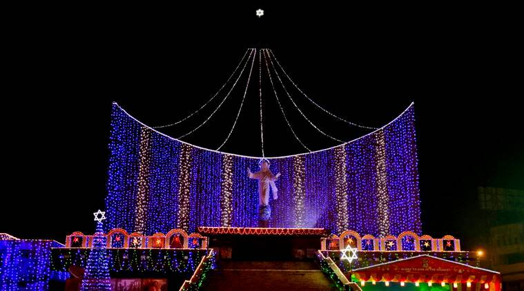 Indians gather at Saint Joseph's Cathedral to celebrate on Christmas eve in Lucknow, India, Saturday, Dec. 24, 2016. Though the Hindus and Muslims comprise majority of the population in India, Christmas is a national holiday celebrated with much fanfare.(AP Photo/Rajesh Kumar Singh)
