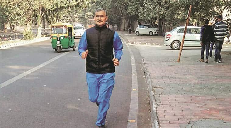 delhi, delhi police, delhi police inspector, delhi police running, athletics, Hira Lal Baliyan, delhi police special cell, lodhi colony, indian express news, delhi news