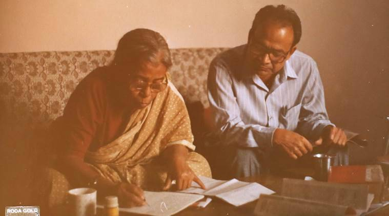 Copied from an Original Photograph of Malayalam Author Anand with Mahasweta Devi and his wife at his Sukhdev Vihar residence in Delhi. Express Photo by Tashi Tobgyal New Delhi 151016