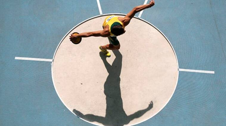 Coertzen of South Africa competes in the men's decathlon discus throw event during the IAAF World Athletics Championships at the Luzhniki stadium in Moscow