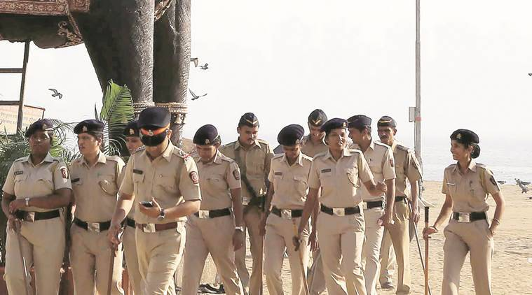 Police personnel inspect preparations at Girgaum Chowpatty on Friday. Prashant Nadkar
