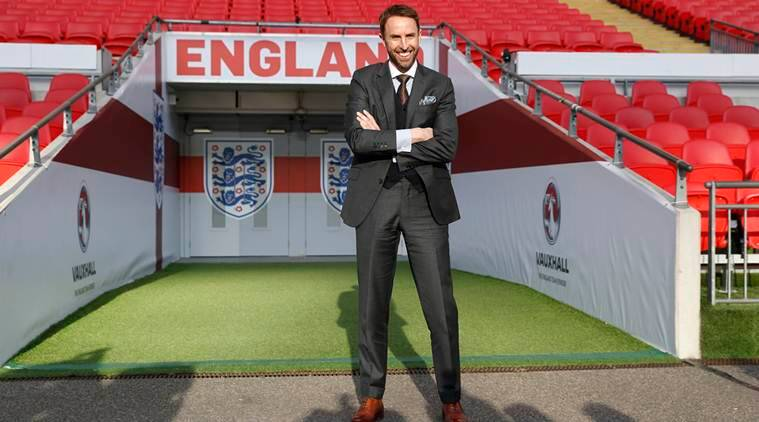 England Manager Gareth Southgate poses after the press conference