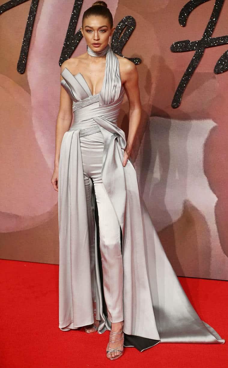Gigi Hadid in Atelier Versace. (Source: AP)