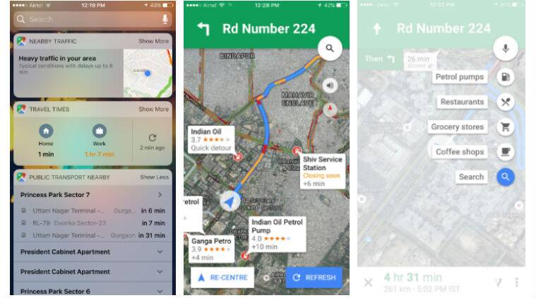 Google Maps, Google maps ios update, Google maps v4.25.0, Goole maps ios widgets, nearby traffic ios widget, add stop on google maps, new google maps ios features, navigation, technology, technology news