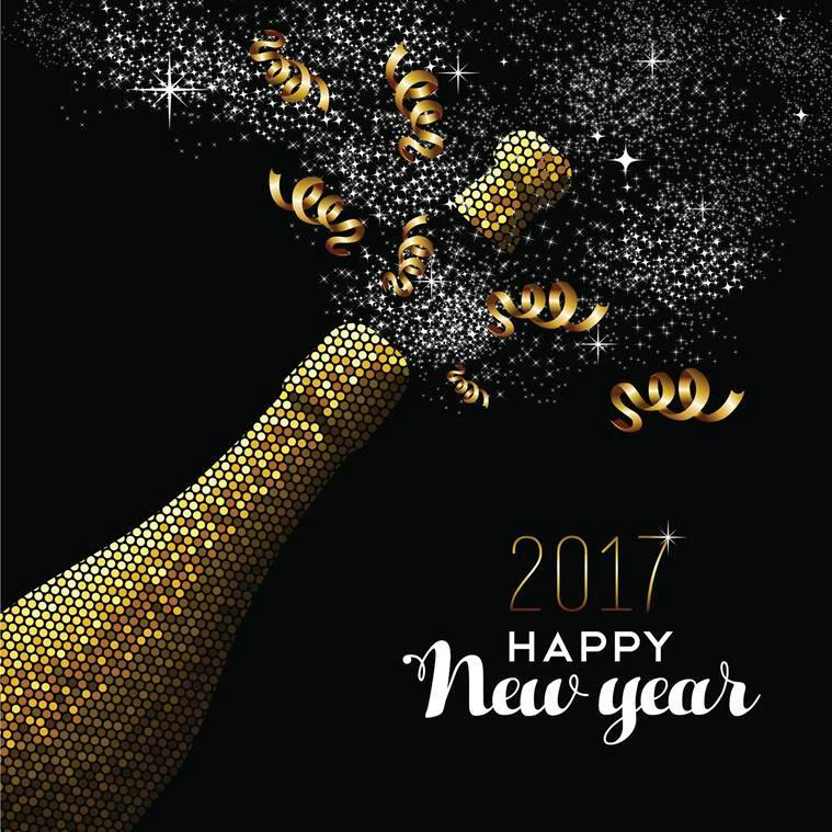 happy new year 2017 gold champagne bottle celebration in mosaic style ideal for holiday card