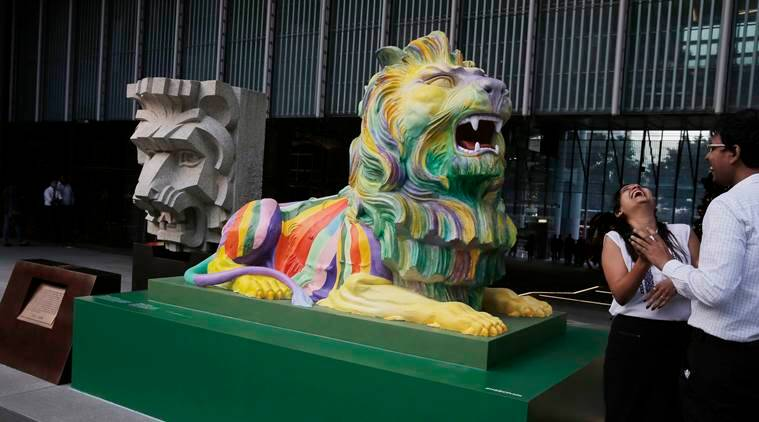 Hong Kong rainbow statues, Hong Kong lion statues, HSBC rainbow statues, HSBC statues, LGBT, anti-gay groups, gay rights, Hong Kong news, world news, latest news, indian express