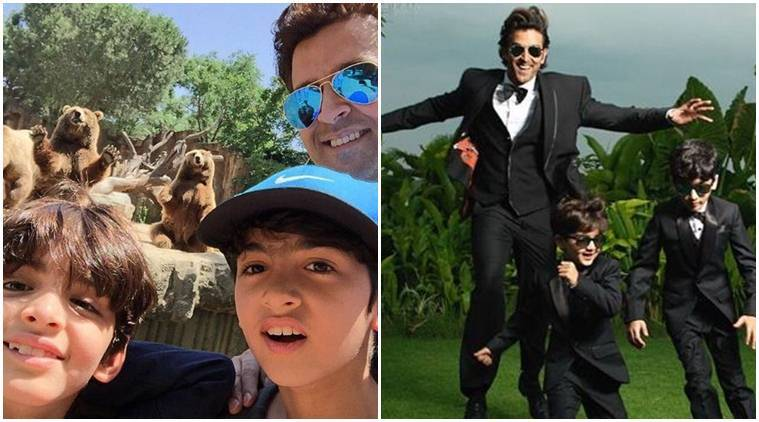 Snapped: Hrithik Roshan adorably plants a peck on his son's lips