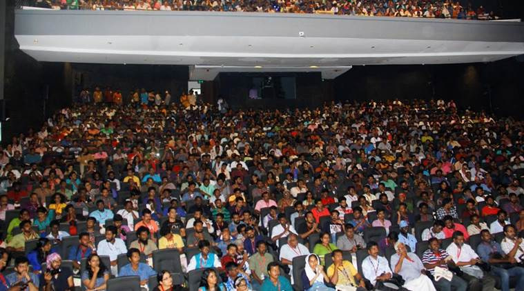 Delegates during a screening at the IFFK. The venue was filled to its capacity. (Source: Express Photo)