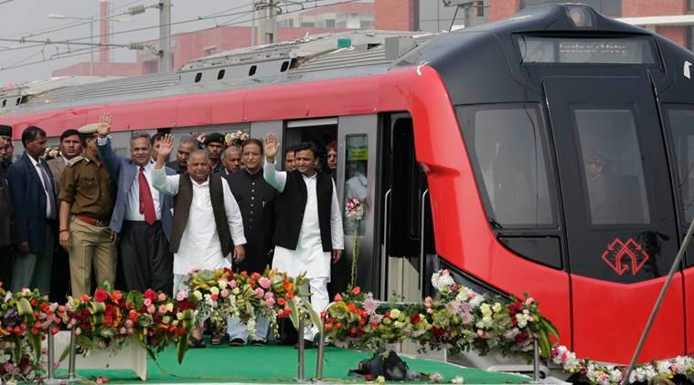 uttar prades, lucknow, lucknow metro, akhilesh yadav, UP CM, UP CM akhilesh yadav, flags off metro, Samajwadi party government, SP government, Mulayam singh yadav, mayawati, india news, indian express news
