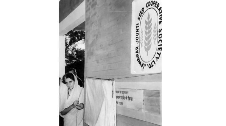 Then prime minister Indira Gandhi inaugurates a processing centre of the Jawahar Jounti Seed Cooperative, which now houses a Delhi government dispensary (Express Photo by Tashi Tobgyal)