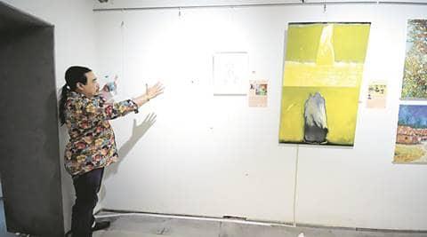 Jaipur Art Summit, Painting vandalised, artist injured, lal shakti, women organisation, RHEM, artist Radha Binod Sharma, onscene painting, obscene painting vandalised, indian express news, india news, jaipur news