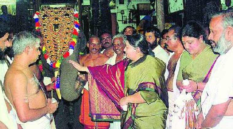 Jayalalithaa, during her visit to donate Elephant Krishna to Lord Guruvayoorappa in Guruvayoor temple on July 2, 2001. (Express Archive)