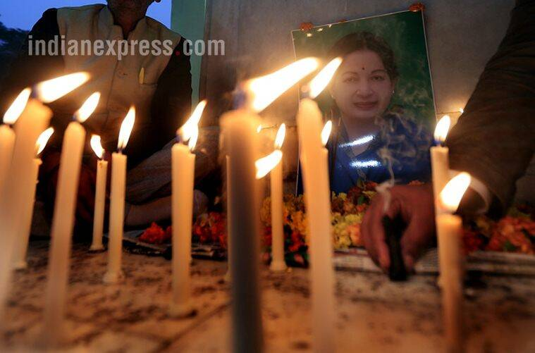 Supporters Paying tribute to the Chief Minister of Tamil Nadu Jayalalithaa on her death after a long illness at gandhi Statue in Lucknow on tuesday.Express photo by Vishal Srivastav 06.12.2016