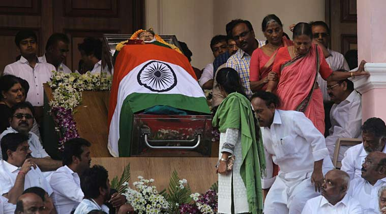 AIADMK supporters and party men pay their last respects to late Tamil Nadu CM Jayalalitha in Rajaji Hall before her funeral, Chennai. (Express Photo by Nirmal Harindran)