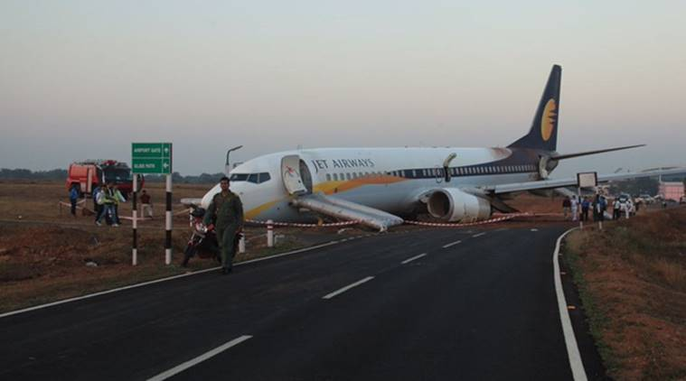 Jet Airways flight skids off runway at Goa's Dabolim airport on Tuesday. ANI photo