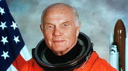 STS-95 crewmember, astronaut and U.S. Senator John Glenn poses for his official NASA photo taken April 14, 1998. Glenn was the first American to orbit the earth and returned to space in 1998 aboard the Space Shuttle Discovery. Courtesy NASA/Handout via REUTERS ATTENTION EDITORS - THIS IMAGE WAS PROVIDED BY A THIRD PARTY. EDITORIAL USE ONLY