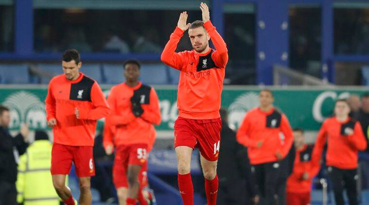 Liverpool's Jordan Henderson during the warm up before the match