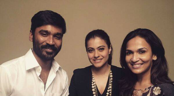 Bollywood actor Kajol with Dhanush and Soundarya