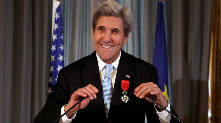 US Secretary of State John Kerry smiles prior to delivering a speech after he was awarded the Legion d'Honneur medal, at the Quai d'Orsay, in Paris, France. Reuters