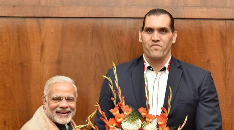 Prime Minister Narendra Modi with the Great Khali (Source: Twitter)
