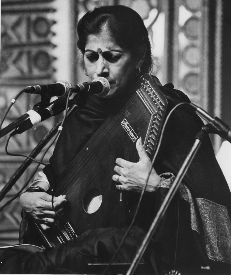 "High notes: Kishori Amonkar forbids any lights on her face during the concert. ""One cannot go into a trance then"". (Express photo by Hemant Chawla)"