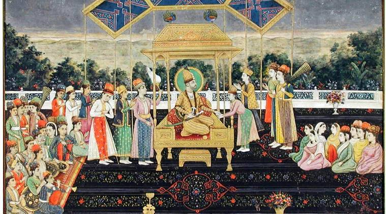 Game of thrones: Persian king Nader Shah on the Peacock Throne with members of the court, after his victory at the Battle of Karnal, created circa 1850.