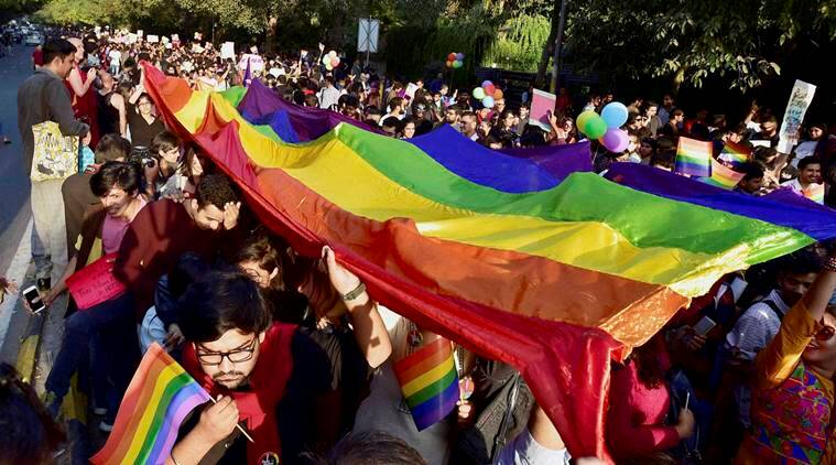 New Delhi: LGBT Community members and supporters carry a rainbow-colored banner during the Delhi Queer Pride March in New Delhi on Sunday. PTI Photo by Kamal Singh (PTI11_27_2016_000185B)