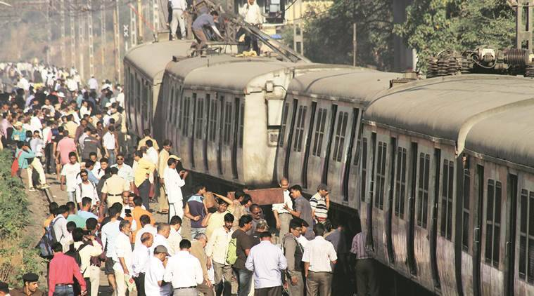 local train, local trainderauilment, local train derailed, train traffic, central railways traffic, india news, indian express news