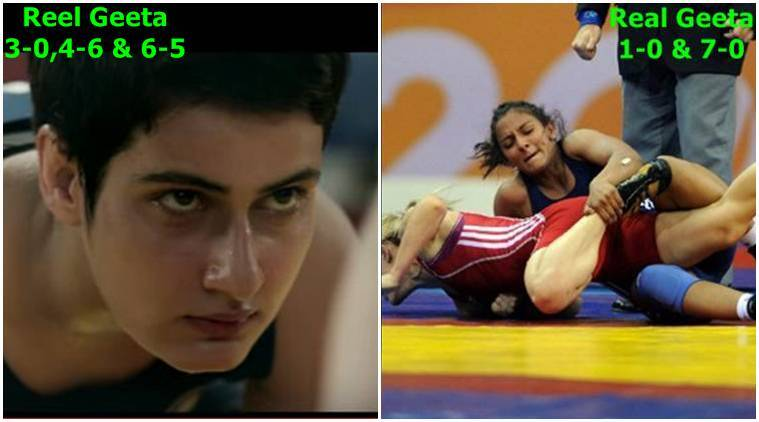 dangal, dangal news, dangal movie, geeta phogat, geeta phogat dangal, dangal geeta phogat, aamir khan, aamir khan dangal, dangal aamir khan, geeta phogat match, geeta phogat cwg match, geet phogat real match, geet phogat reel match, mahavir singh phogat, entertainment news, indian express, indian express news