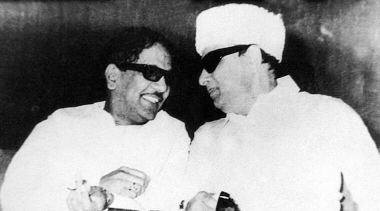 Karunanidhi with friend-turned rival MGR *** Local Caption *** if the pix are used, plz give credit to Kalaimamani N.Yogi..