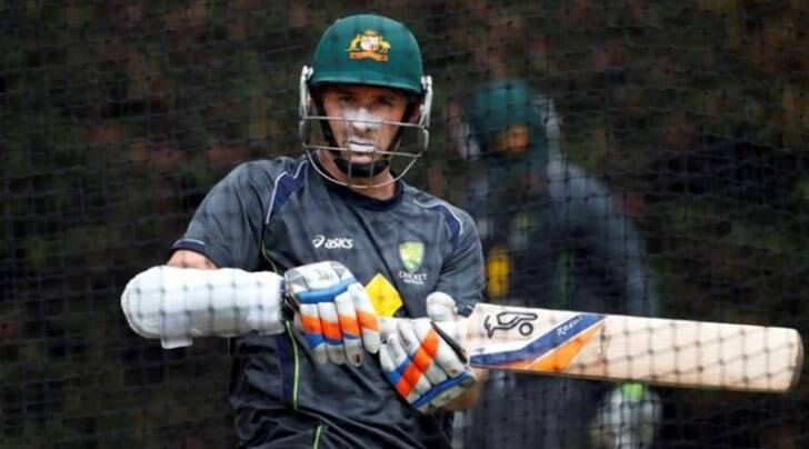 Australia's Mike Hussey bats in the nets during a practice session at the Sydney Cricket Ground