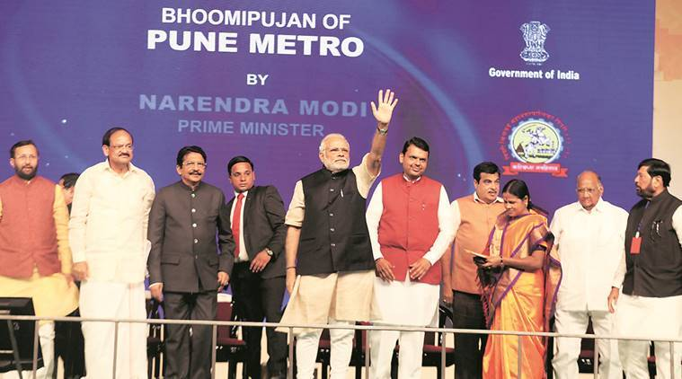 Prime Minister Narendra Modi with Chief Minister Devendra Fadnavis, Union ministers Nitin Gadkari, Venkaiah Naidu and Prakash Javadekar, and NCP chief Sharad Pawar at the foundation stone laying ceremony of Pune Metro on Saturday. Pavan Khengre