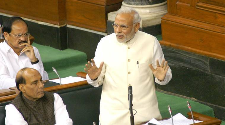 The Prime Minister, Shri Narendra Modi speaking in the Lok Sabha, on the occasion of the special sitting to commemorate Constitution Day, in New Delhi on November 27, 2015.