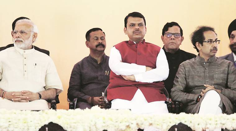 PM Narendra Modi, CM Devendra Fadnavis and Sena chief Uddhav Thackeray share the stage in Mumbai on Saturday. Pradip Das