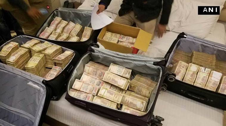 The cash in old notes recovered from a hotel in Karol Bagh in Delhi