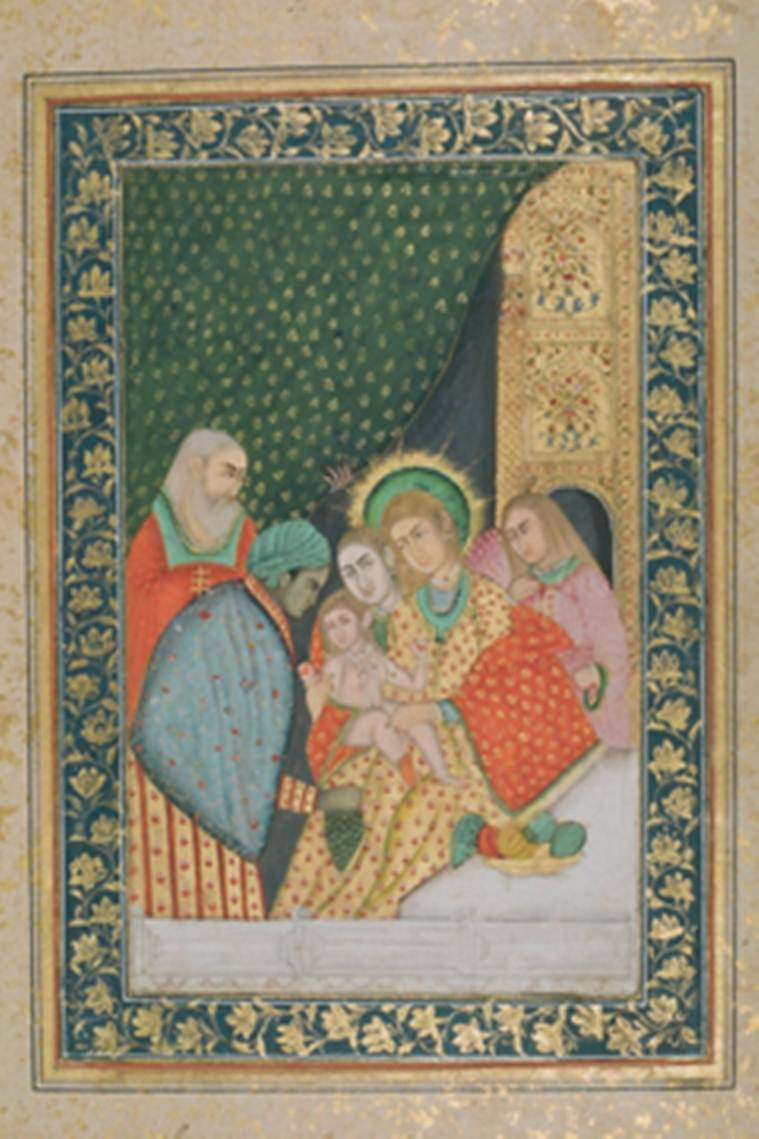 christmas, christian paintings in India, Mughal art, Christian themed Mughal art, Biblical themes in Indian art, Christmas 2016, Christianity,Christianity in India, Christians in India, Christians in Mughal court, Jesuits in India, Jesuits in Mughal court, Akbar, Mughal rulers, Mughal rule in India, Jahangir, Indian Express