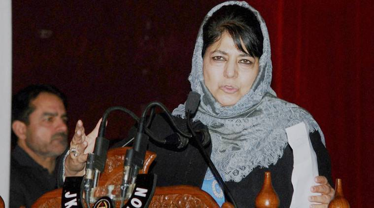 Jammu and Kashmir, J-K, Mehbooba Mufti's anti-national remark, article 370 abrogation, Indian constitution, Jammu and Assembly assembly, uproar in J-K assembly, India news, Indian Express
