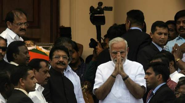 PM Modi paying homage to Amma at Rajaji Hall, Chennai on Tuesday. Express photo by Nirmal Harindran, 6th December, 2016, Chennai.