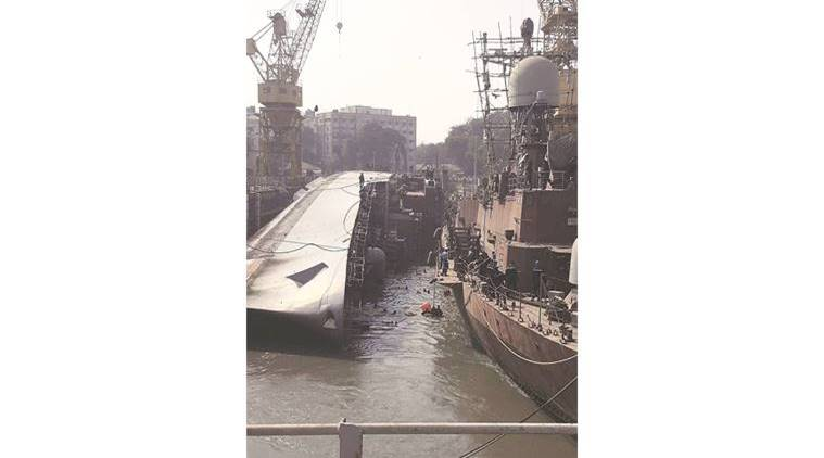 INS Betwa tipped over and hit the ground while being undocked at the Naval Dockyard in Mumbai Monday. Express photo