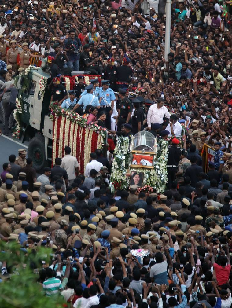 Tamil Nadu CM, Jayalalitas corpse being taken as procession for burial at Marina Beach MGR samadhi on Tuesday evening. Express photo by Nirmal Harindran, 6th December 2016, Chennai.