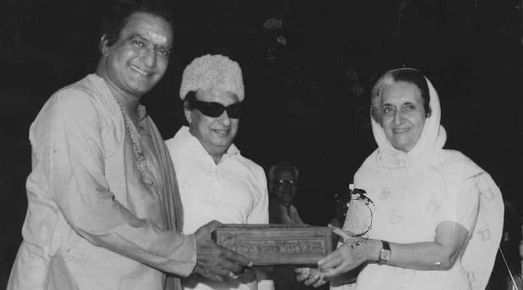 CM of AP NTR, CM of Chennai MGR and PM Indira Gandhi . Express photo *** Local Caption *** CM of AP NTR, CM of Chennai MGR and PM Indira Gandhi . Express photo