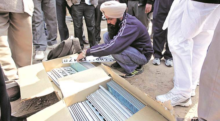 HSRP, high security registration plates, Number Plates, Transport dept, fail to hire firm, pendency, pandency crosses mark, chandigarh news,indian express news