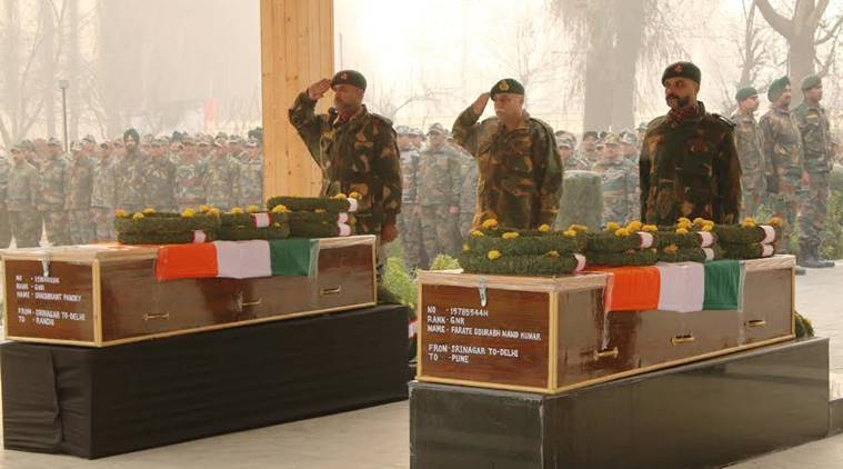 kashmir, kashmir soldiers killed, pampore attack, army pays tributes, army tributes, pampore soldiers, kashmir militants, kashmir firing, militants in kashmir, bordering firing, jammu kashmir, jammu kashmir news, kashmir encounter, j&k militants, J&k news, India news, Indian express