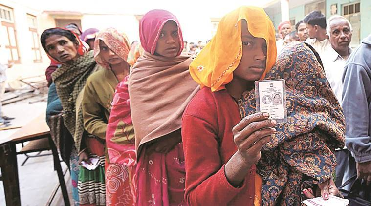 People queue up to cast votes in the Panchmahals on Tuesday. Bhupendra Rana