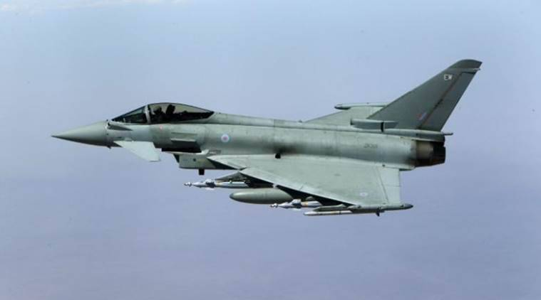 A British Royal Air Force Typhoon aircraft. It is Britains front line air-superiority fighter and currently four plane are stationed in Japan. (Source: Reuters)